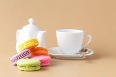 法国甜纤巧,蛋白杏仁饼干品种特写镜头 库存照片