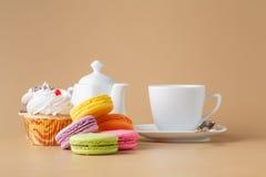 法国甜纤巧,蛋白杏仁饼干品种特写镜头 库存图片