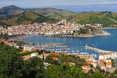 法国的南部的Banyuls苏尔梅尔沿海城市 免版税库存图片