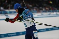 法国的奥林匹克冠军马丁Fourcade在两项竞赛人` s 12竞争 在2018个冬季奥运会的5km追求 库存图片