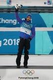 法国的奥林匹克冠军马丁Fourcade庆祝在两项竞赛人` s 15km许多开始的胜利在2018个冬季奥运会 免版税库存照片