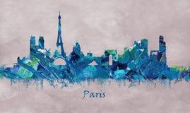 法国的巴黎首都,五颜六色的地平线 库存例证