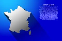 法国的抽象地图有长的阴影的在蓝色背景传染媒介例证 皇族释放例证
