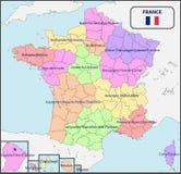 法国的政治地图有名字的 库存照片