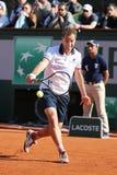 法国的职业网球球员里夏尔・加斯凯行动的在他的在罗兰・加洛斯的第三次回合比赛期间2015年 图库摄影