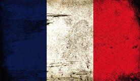 法国的葡萄酒老旗子 艺术纹理绘了法国国旗 库存例证