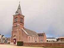法国砖教会 免版税库存图片
