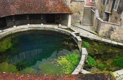 法国美好的城河迪翁春天在Tonnerre 库存图片