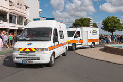 法国群众防护的车在游行期间的 图库摄影