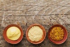 法国芥末、第茂芥末和粉末在木土气背景顶视图 不同的集香料 免版税库存图片