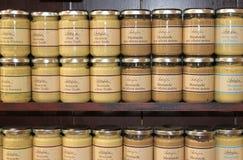 法国芥末瓶子 库存图片