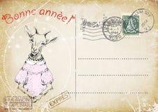 法国葡萄酒明信片 山羊手图画  新年好 例证 图库摄影