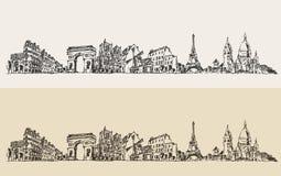 巴黎法国葡萄酒被刻记的例证剪影 免版税库存照片