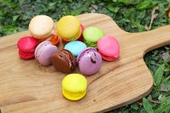 法国蛋白杏仁饼干多五颜六色是可口的 免版税库存照片
