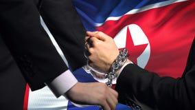 法国认可北朝鲜,被束缚的胳膊,政治或者经济冲突 股票录像