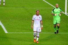 法国足球运动员在比赛期间的Philipe Mexes,足球超级明星, Ac米兰,意大利,欧洲 免版税库存图片