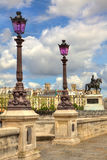 法国路灯柱neuf巴黎pont 免版税库存照片