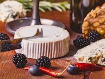 法国软干酪、羊乳干酪和红酒供食用黑莓和其他香料,特写镜头 库存照片