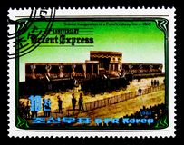 法国铁路线的开头(1860), 100年东方Expres 库存图片