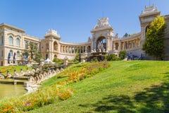 法国马赛 宫殿Longchamp和落下的喷泉 图库摄影