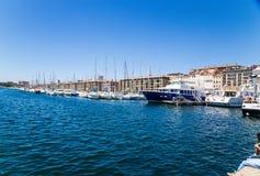 法国马赛 小船和游艇在旧港口 库存图片