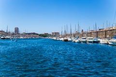 法国马赛 旧港口视图 库存照片