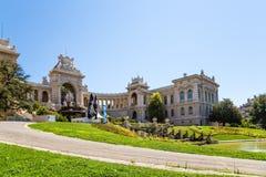 法国马赛 有一个落下的喷泉的Longchamp宫殿 免版税库存图片
