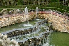 法国,三个喷泉树丛在凡尔赛宫公园 免版税库存照片