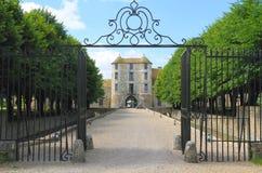 法国,伊夫林省:城堡/入口- Château de维利埃斯leMahieu 库存照片