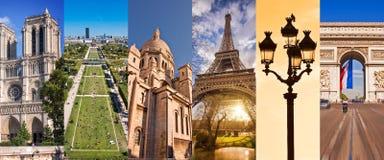 巴黎法国,全景照片拼贴画,巴黎地标移动和旅游业概念 免版税库存照片