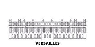 法国,凡尔赛地标线旅行地平线集合 法国,凡尔赛地标概述城市传染媒介例证 皇族释放例证