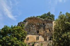 法国,列斯Eyzies美丽如画的村庄  免版税库存照片