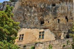 法国,列斯Eyzies美丽如画的村庄  库存图片