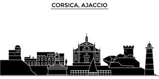 法国,可西嘉岛,阿雅克修建筑学传染媒介城市地平线,与地标,大厦的旅行都市风景,隔绝了视域 向量例证