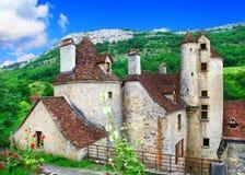 法国,多尔多涅省的风景老村庄 免版税图库摄影