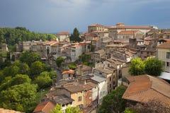法国,奥韦涅,梯也尔村庄 库存照片