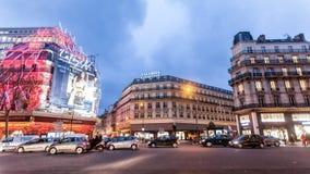 巴黎法国, 2014年11月:假日在法国-拉斐特在冬天圣诞节期间的Galeries 免版税图库摄影