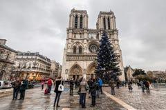巴黎法国, 2014年11月:在冬天圣诞节期间的假日在法国-巴黎圣母院和游人 图库摄影
