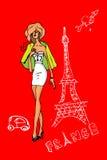 法国,巴黎,爱看板卡的妇女 免版税库存照片
