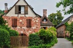 法国, Collonges la胭脂美丽如画的村庄  图库摄影