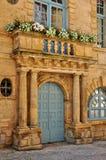 法国, Sarlat la Caneda美丽如画的城市在多尔多涅省 库存照片