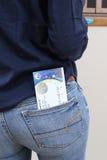 法国巴黎 05 16 2016年 一张票的特写镜头voew欧洲2016 UEFA足球或橄榄球比赛的在a的后面口袋 图库摄影