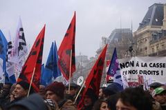 法国巴黎 03 09 2016年 反对社会主义政府的一次巨型示范与劳工法改革关连 免版税库存图片