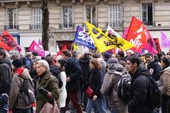 法国巴黎 03 09 2016年 反对社会主义政府的一次巨型示范与劳工法改革关连 免版税库存照片