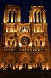 法国贵妇人晚上notre巴黎场面 图库摄影