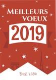 法国 巴黎 2007个看板卡招呼的新年好 Meilleurs voeux 2019年 新的模板年 向量例证