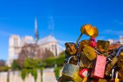 法国 巴黎 在巴黎圣母院的看法从桥梁Pont 免版税图库摄影