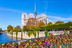 法国 巴黎 在巴黎圣母院的看法从桥梁Pont 免版税库存图片