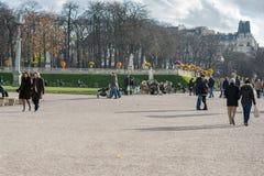 巴黎法国- 2012年11月25日:有亲吻的夫妇的公园在巴黎,法国 图库摄影