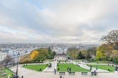 巴黎法国- 2012年11月22日:巴黎和都市风景的蒙马特 法国 免版税库存图片